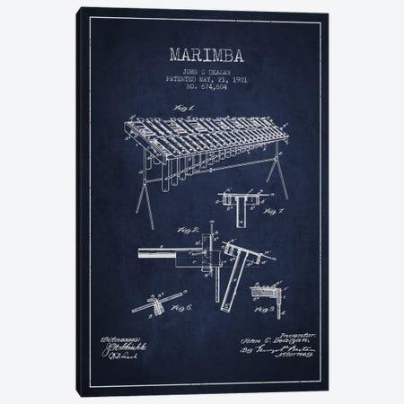 Marimba Navy Blue Patent Blueprint Canvas Print #ADP1086} by Aged Pixel Canvas Print