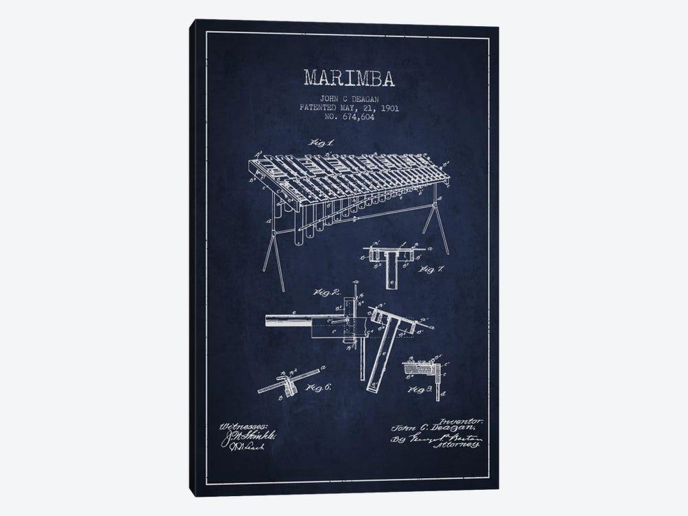 Marimba Navy Blue Patent Blueprint by Aged Pixel 1-piece Canvas Artwork