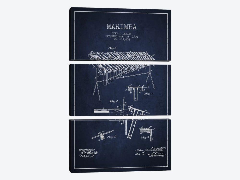 Marimba Navy Blue Patent Blueprint by Aged Pixel 3-piece Canvas Wall Art