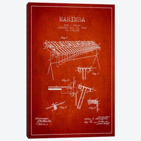 Marimba Red Patent Blueprint Canvas Print #ADP1087} by Aged Pixel Canvas Print
