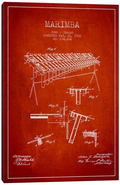Marimba Red Patent Blueprint Canvas Print #ADP1087