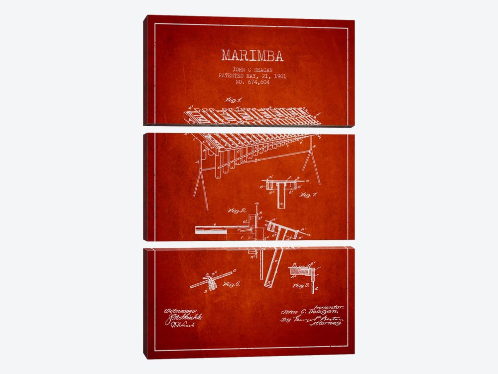 Marimba Red Patent Blueprint by Aged Pixel 3-piece Canvas Print