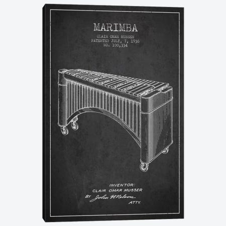 Marimba Charcoal Patent Blueprint Canvas Print #ADP1089} by Aged Pixel Canvas Artwork