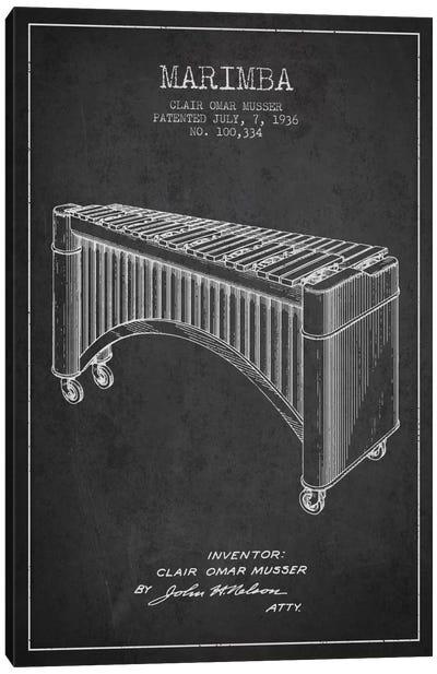 Marimba Charcoal Patent Blueprint Canvas Print #ADP1089