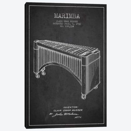 Marimba Charcoal Patent Blueprint Canvas Print #ADP1089} by Aged Pixel Canvas Artwork