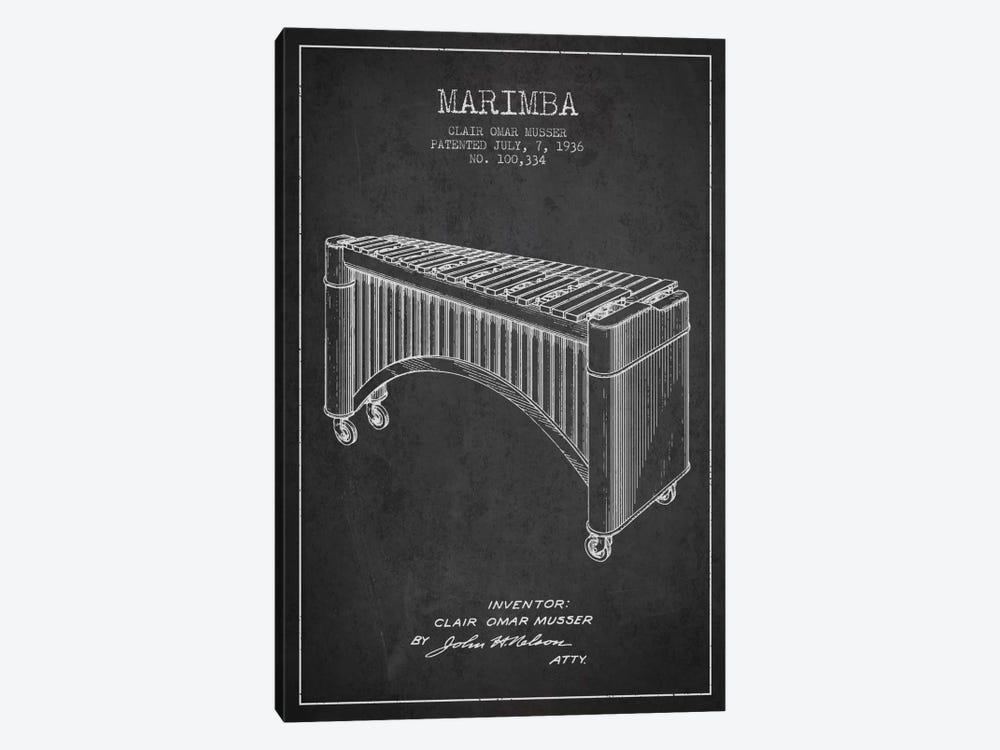 Marimba Charcoal Patent Blueprint by Aged Pixel 1-piece Canvas Art Print