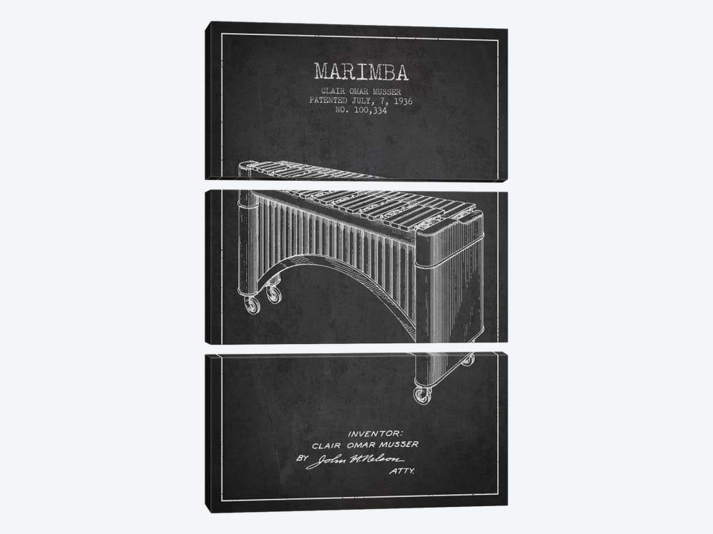 Marimba Charcoal Patent Blueprint by Aged Pixel 3-piece Canvas Print