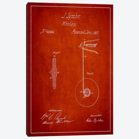 Yoyo Red Patent Blueprint Canvas Print #ADP108} by Aged Pixel Canvas Artwork