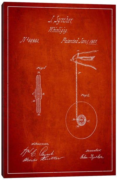 Yoyo Red Patent Blueprint Canvas Art Print