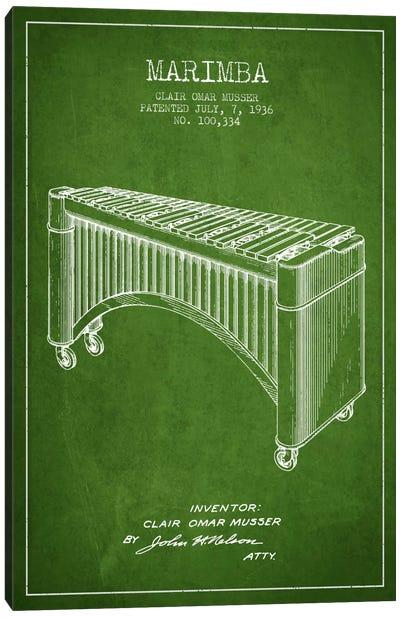 Marimba Green Patent Blueprint Canvas Print #ADP1090