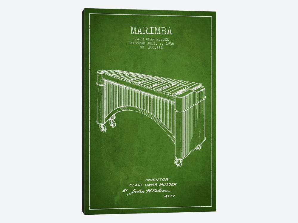Marimba Green Patent Blueprint by Aged Pixel 1-piece Canvas Art Print