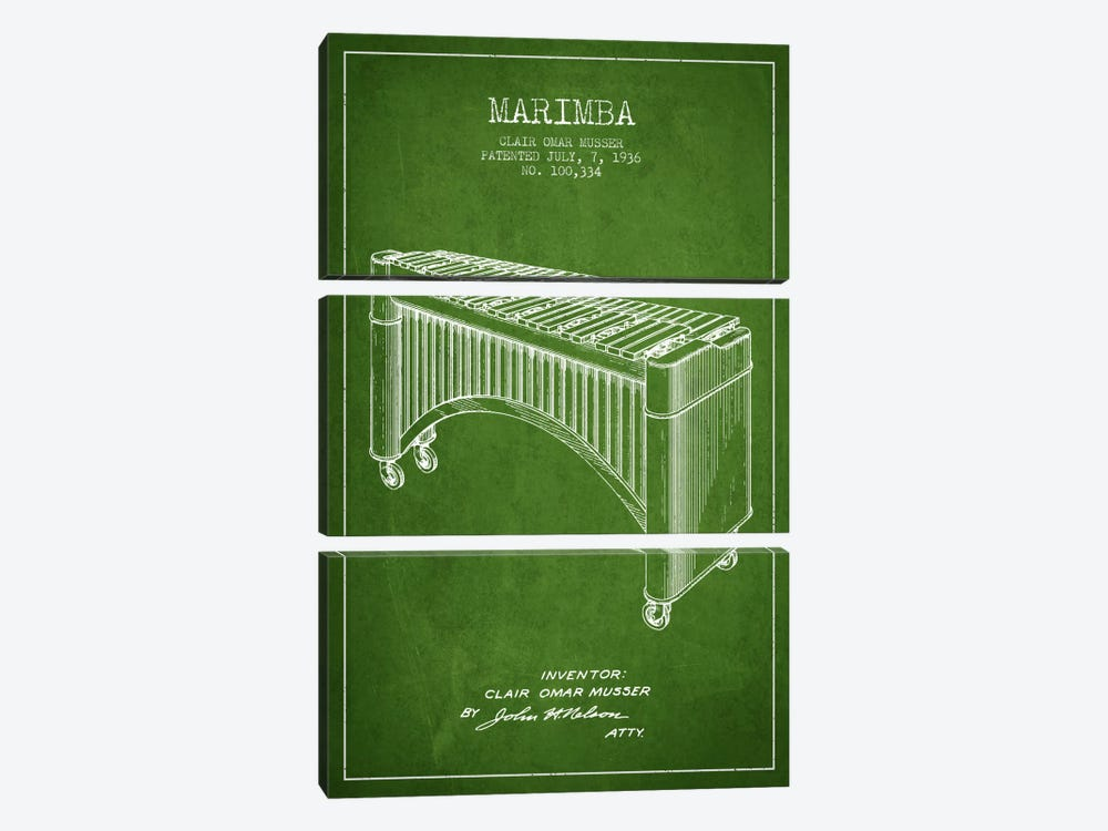 Marimba Green Patent Blueprint by Aged Pixel 3-piece Canvas Art Print