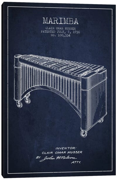Marimba Navy Blue Patent Blueprint Canvas Print #ADP1091