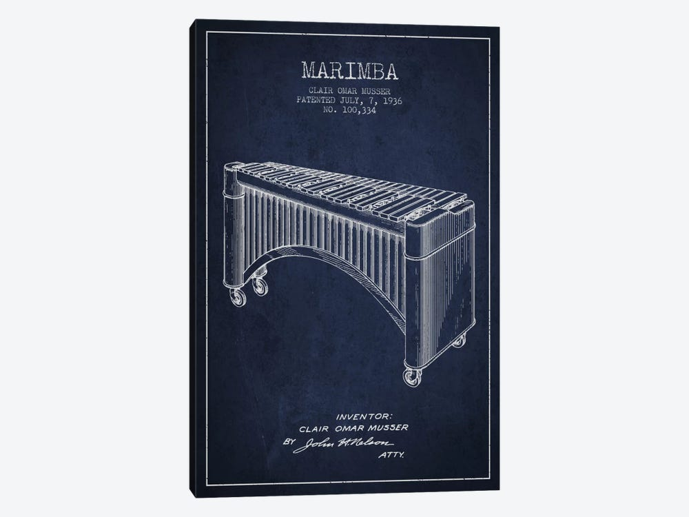 Marimba Navy Blue Patent Blueprint by Aged Pixel 1-piece Canvas Art