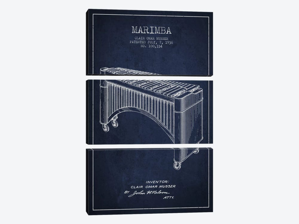 Marimba Navy Blue Patent Blueprint by Aged Pixel 3-piece Canvas Art