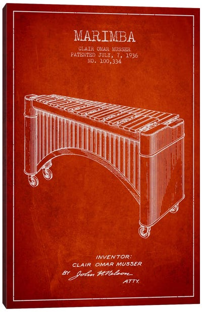 Marimba Red Patent Blueprint Canvas Print #ADP1092