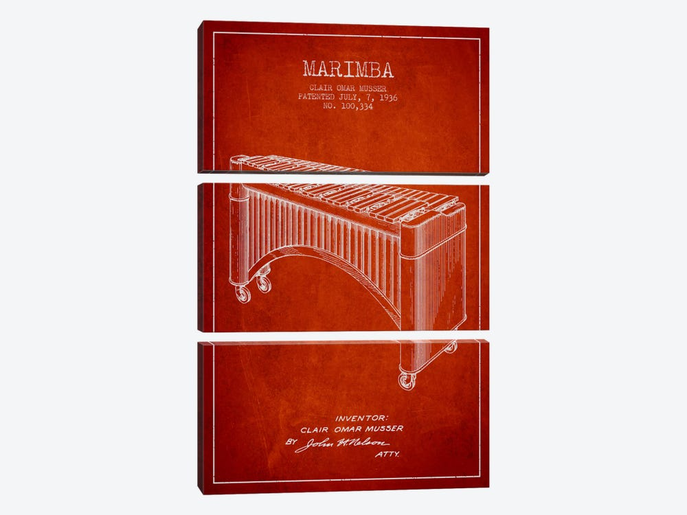 Marimba Red Patent Blueprint by Aged Pixel 3-piece Canvas Art Print