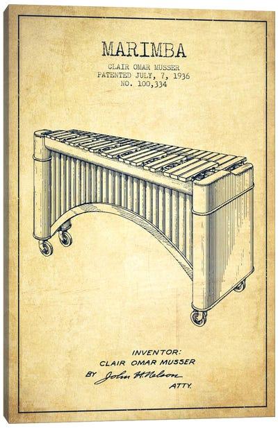 Marimba Vintage Patent Blueprint Canvas Print #ADP1093