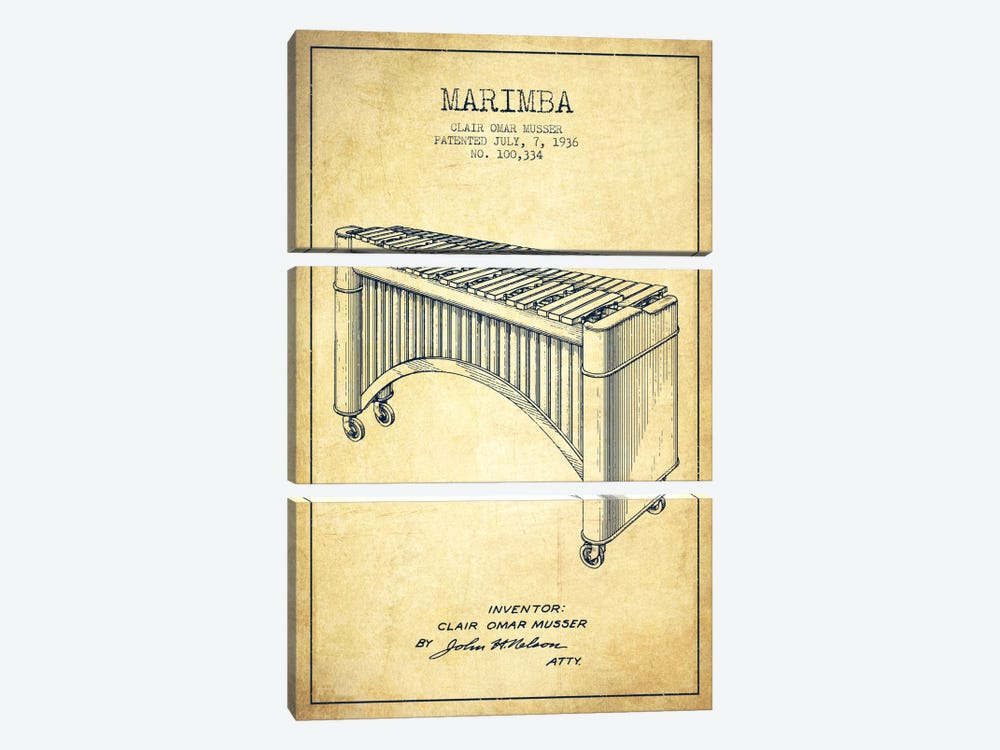 Marimba Vintage Patent Blueprint by Aged Pixel 3-piece Canvas Wall Art