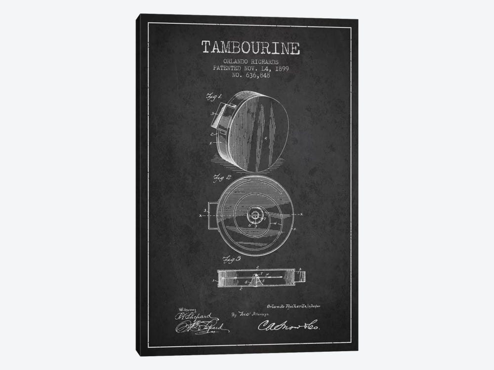 Tambourine Charcoal Patent Blueprint by Aged Pixel 1-piece Canvas Art Print
