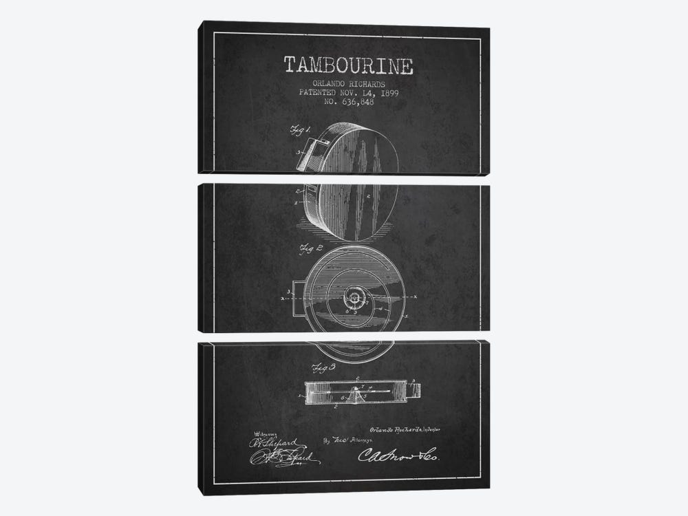 Tambourine Charcoal Patent Blueprint by Aged Pixel 3-piece Canvas Art Print
