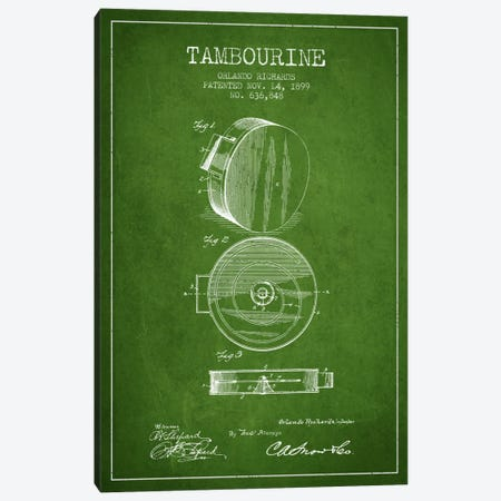 Tambourine Green Patent Blueprint Canvas Print #ADP1095} by Aged Pixel Canvas Artwork