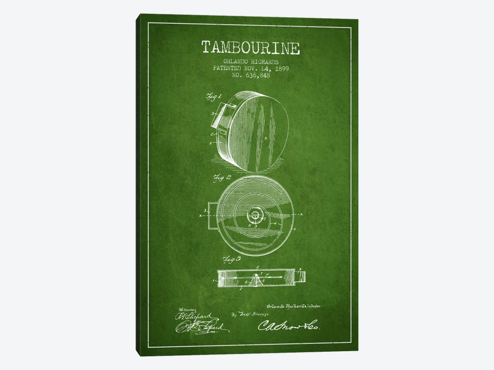 Tambourine Green Patent Blueprint by Aged Pixel 1-piece Canvas Wall Art
