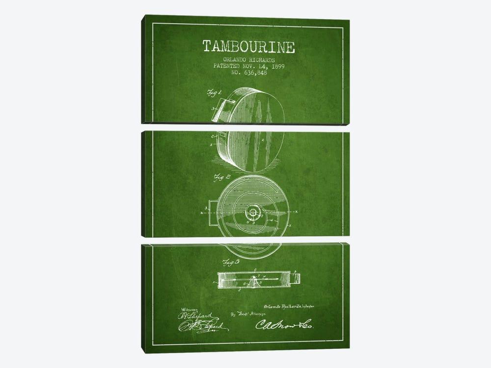 Tambourine Green Patent Blueprint by Aged Pixel 3-piece Canvas Artwork