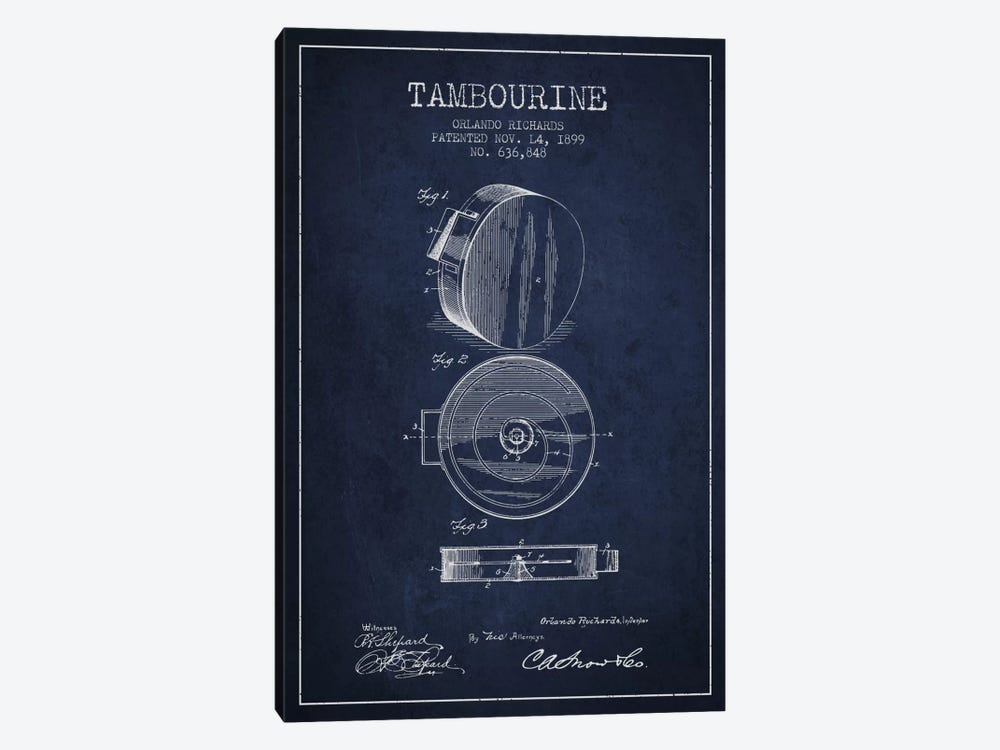 Tambourine Navy Blue Patent Blueprint by Aged Pixel 1-piece Canvas Art Print