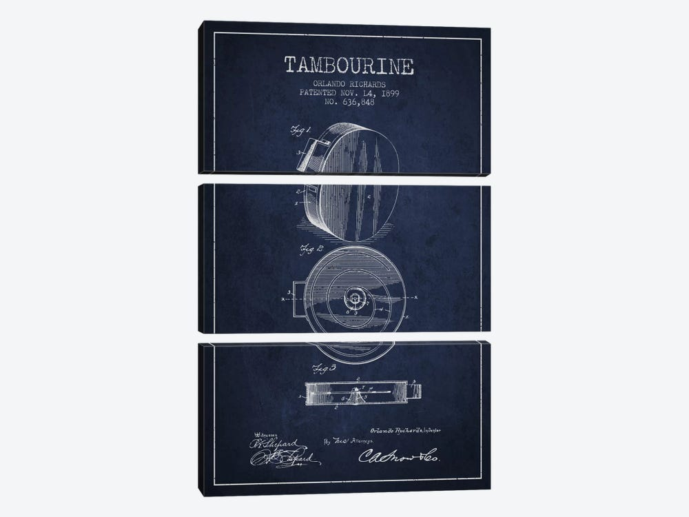 Tambourine Navy Blue Patent Blueprint by Aged Pixel 3-piece Canvas Art Print