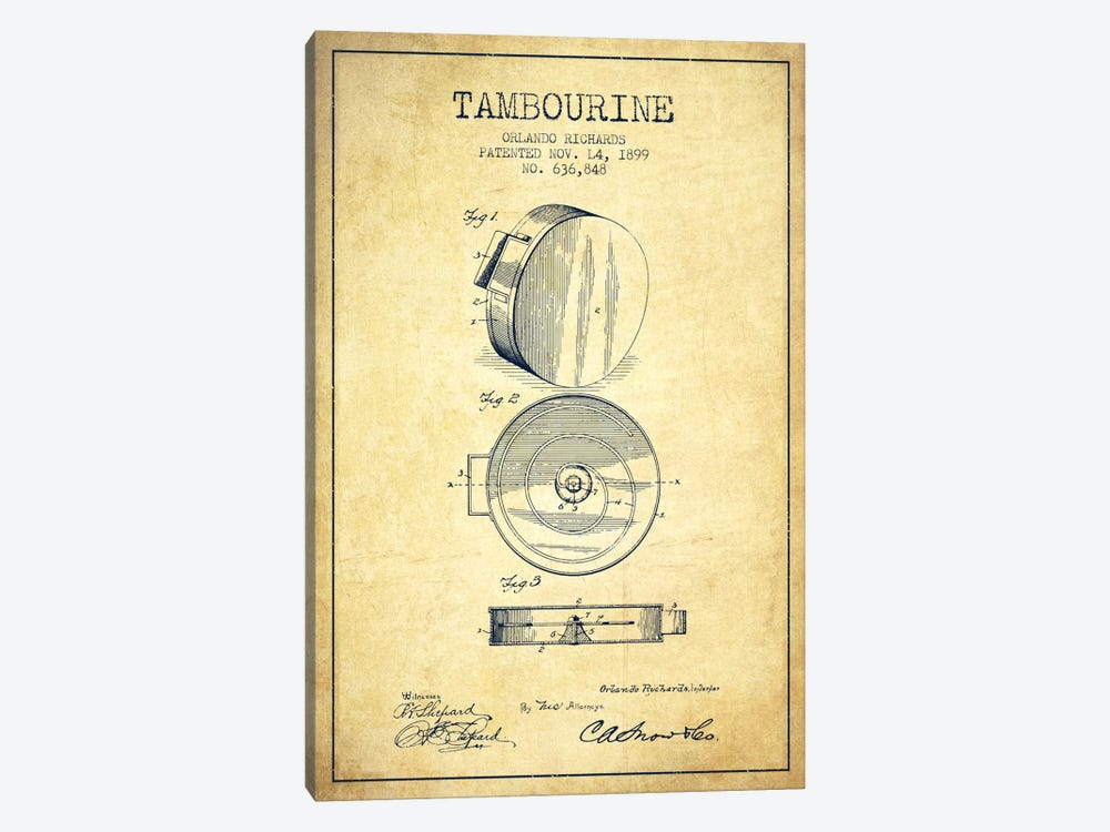 Tambourine Vintage Patent Blueprint by Aged Pixel 1-piece Art Print