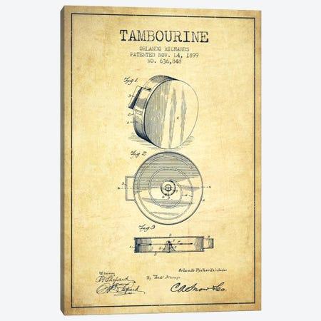 Tambourine Vintage Patent Blueprint Canvas Print #ADP1098} by Aged Pixel Canvas Art Print