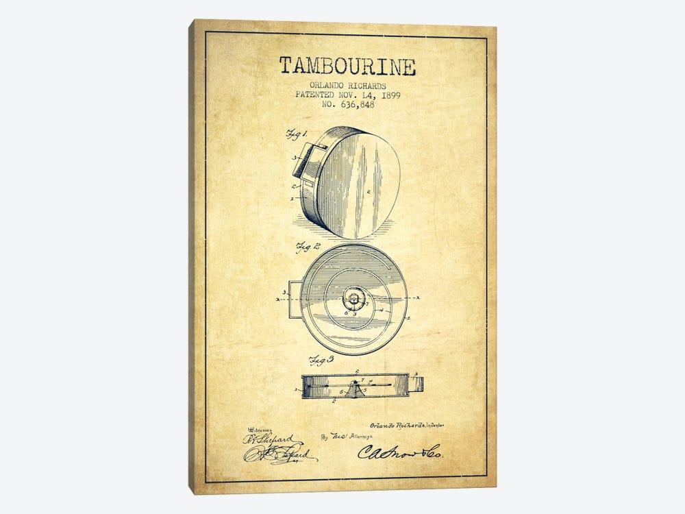 Tambourine Vintage Patent Blueprint by Aged Pixel 1-piece Art Print