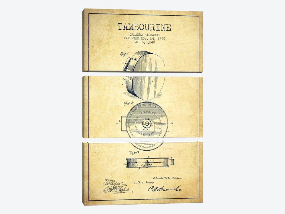 Tambourine Vintage Patent Blueprint by Aged Pixel 3-piece Art Print