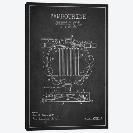 Tambourine Charcoal Patent Blueprint Canvas Print #ADP1099} by Aged Pixel Canvas Print