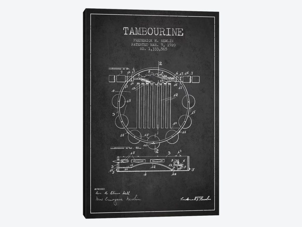 Tambourine Charcoal Patent Blueprint by Aged Pixel 1-piece Canvas Wall Art
