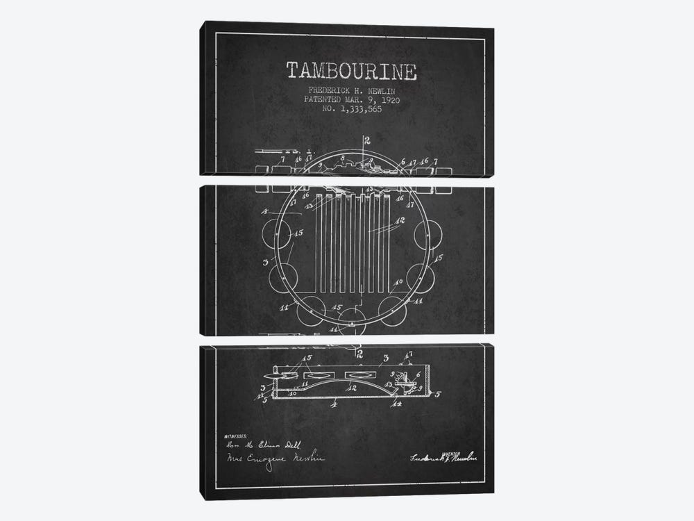 Tambourine Charcoal Patent Blueprint by Aged Pixel 3-piece Canvas Artwork