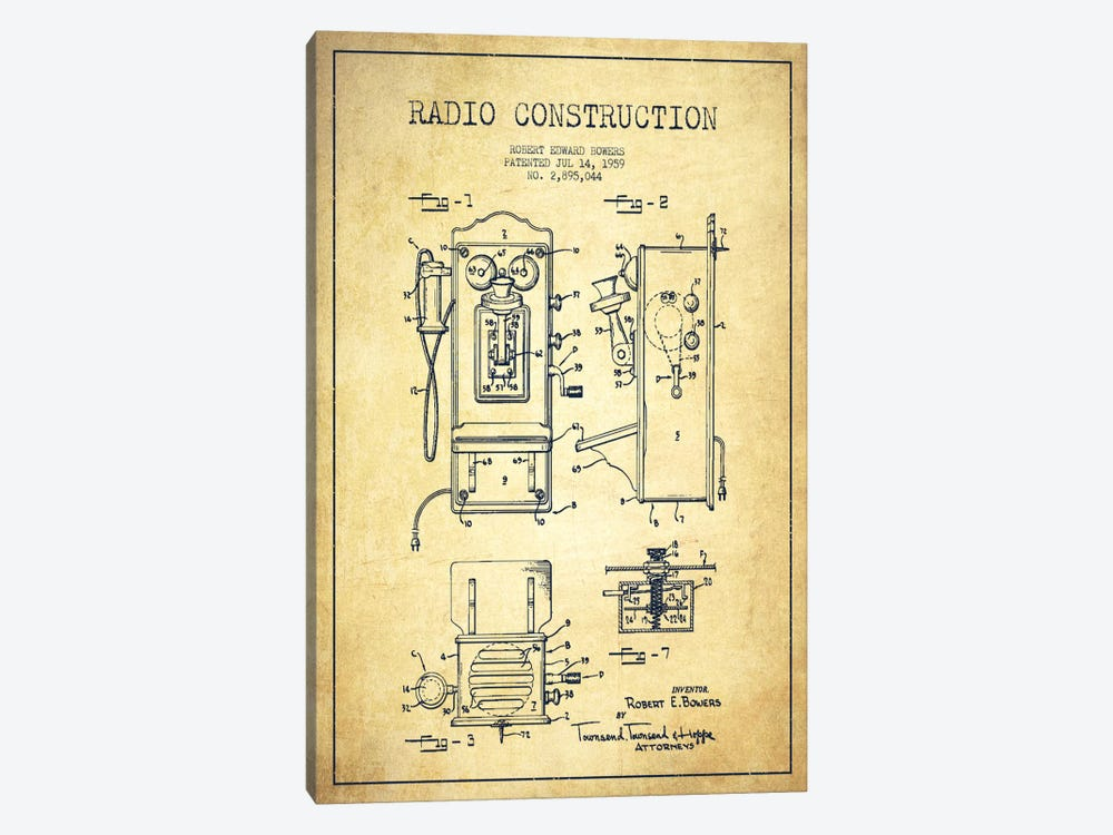 Bowers Radio Vintage Patent Blueprint by Aged Pixel 1-piece Canvas Art