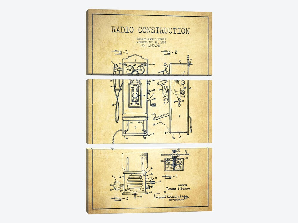 Bowers Radio Vintage Patent Blueprint by Aged Pixel 3-piece Canvas Art