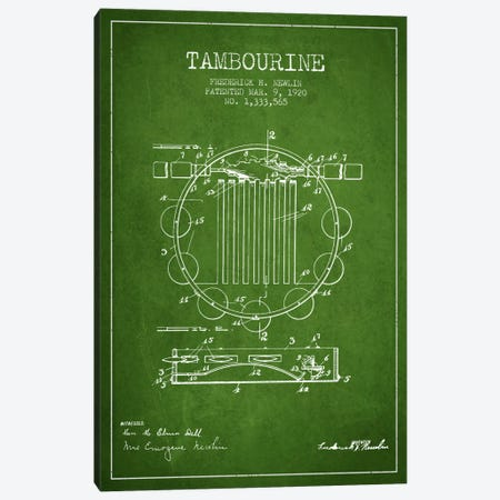 Tambourine Green Patent Blueprint Canvas Print #ADP1100} by Aged Pixel Canvas Print