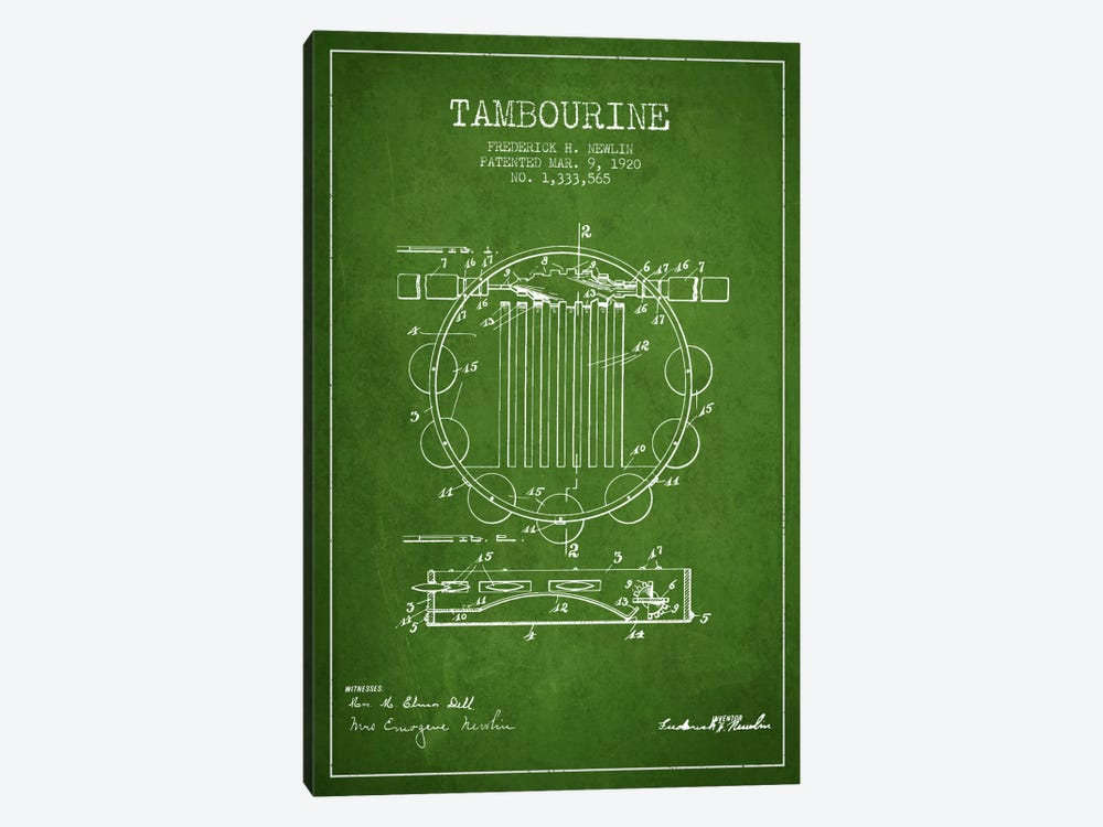 Tambourine Green Patent Blueprint by Aged Pixel 1-piece Canvas Print