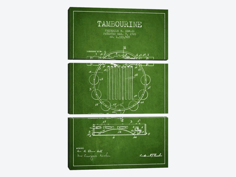 Tambourine Green Patent Blueprint by Aged Pixel 3-piece Art Print