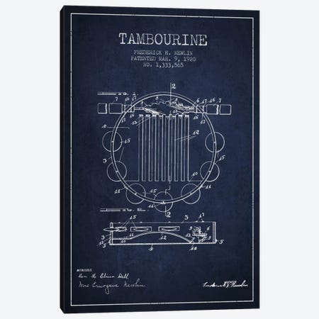 Tambourine Navy Blue Patent Blueprint Canvas Print #ADP1101} by Aged Pixel Canvas Print