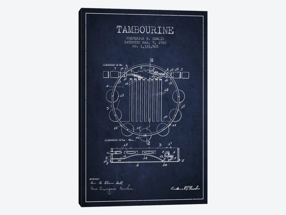 Tambourine Navy Blue Patent Blueprint by Aged Pixel 1-piece Canvas Art