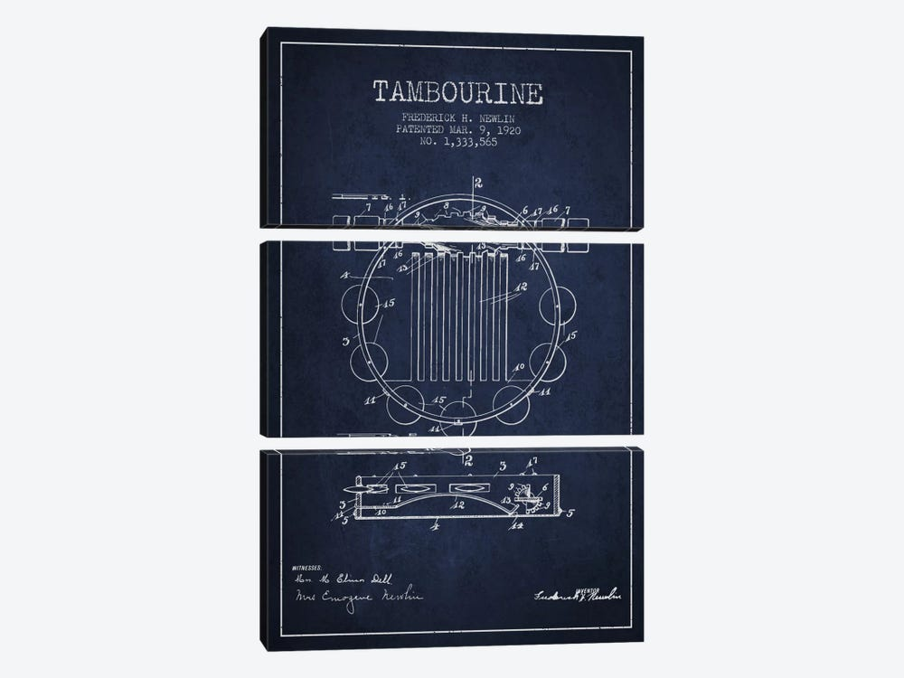 Tambourine Navy Blue Patent Blueprint by Aged Pixel 3-piece Canvas Art