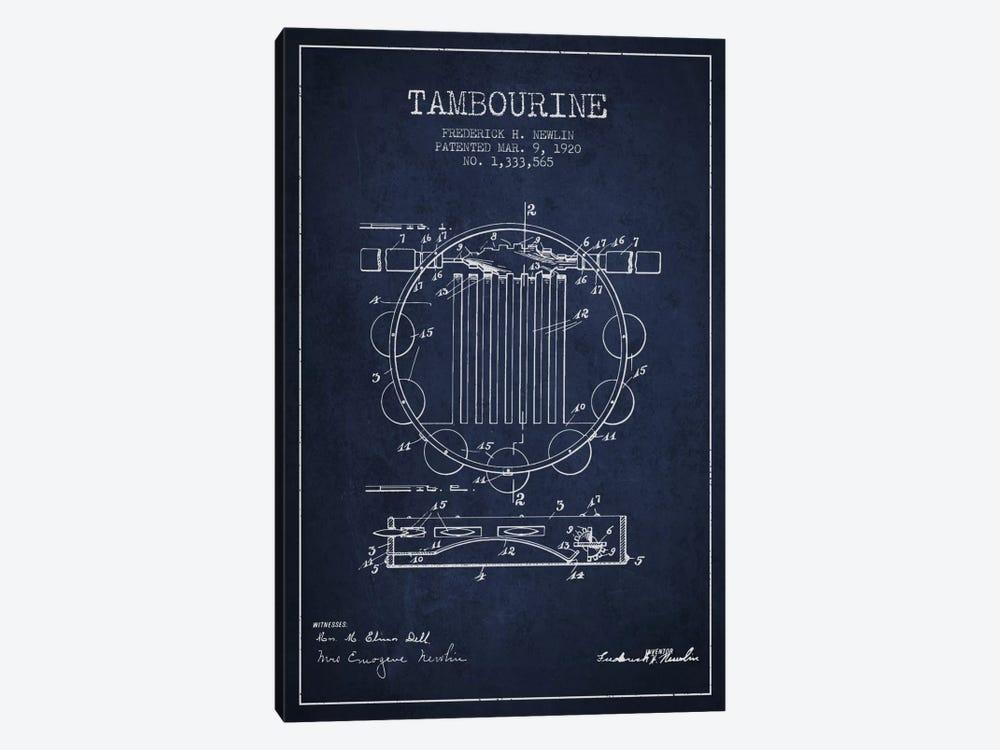 Tambourine Navy Blue Patent Blueprint by Aged Pixel 1-piece Canvas Art