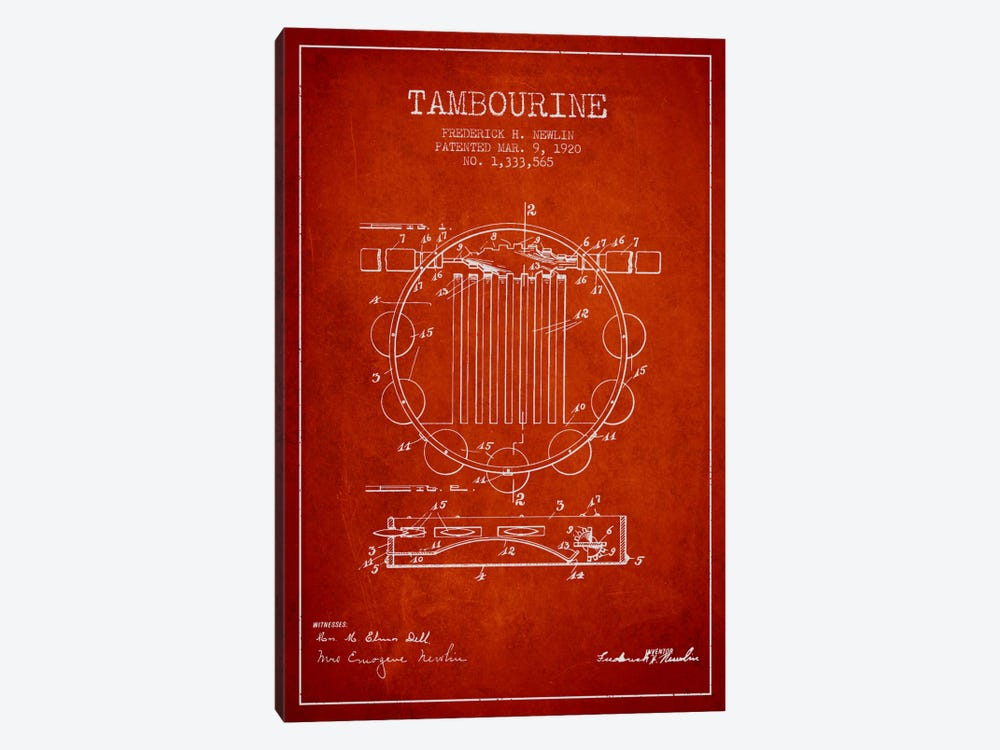Tambourine Red Patent Blueprint by Aged Pixel 1-piece Canvas Print