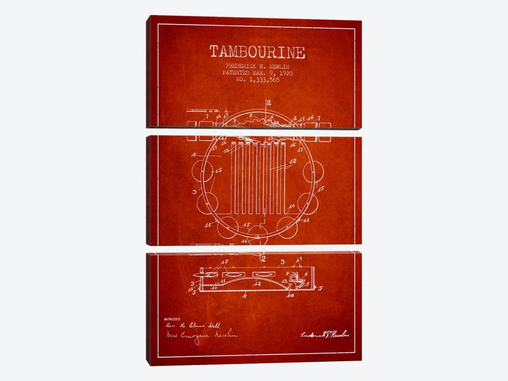 Tambourine Red Patent Blueprint by Aged Pixel 3-piece Canvas Print