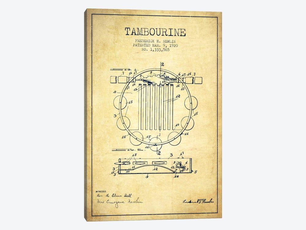 Tambourine Vintage Patent Blueprint by Aged Pixel 1-piece Canvas Art