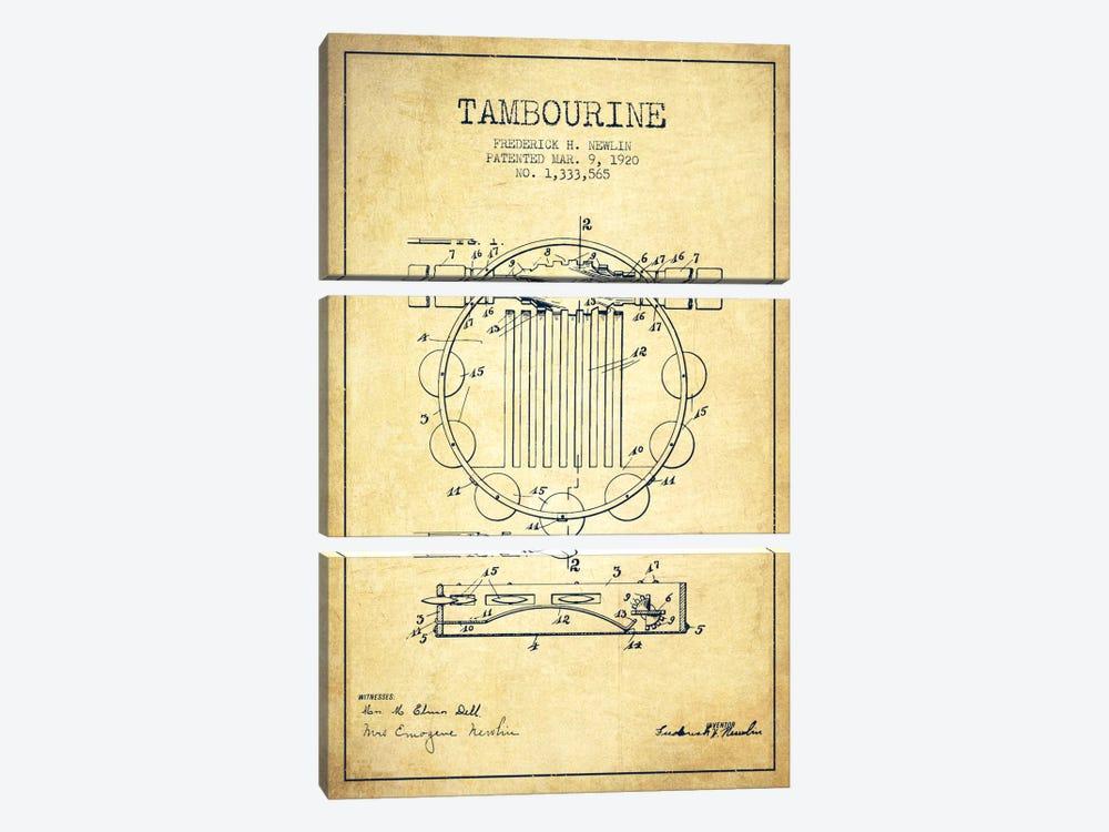 Tambourine Vintage Patent Blueprint by Aged Pixel 3-piece Canvas Artwork